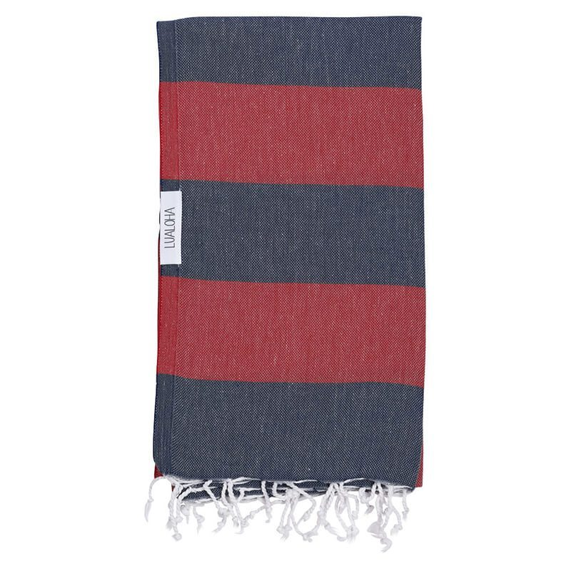 Navy + Red Turkish Towel
