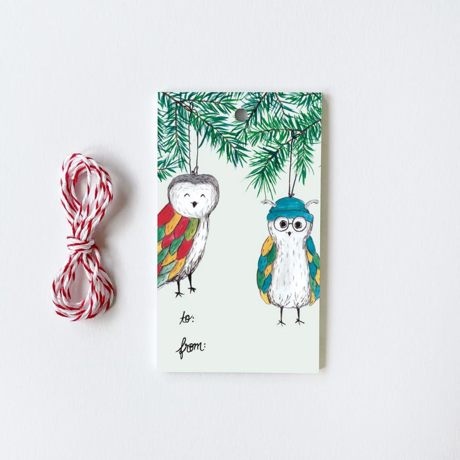 Cat + Owl Christmas Tree Gift Tags