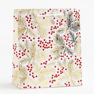 Red Berries + Gold Branch Gift Bag