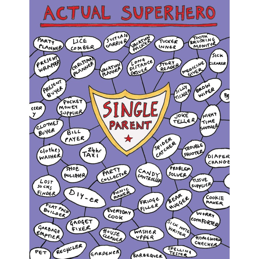 Single Parent Superhero Card
