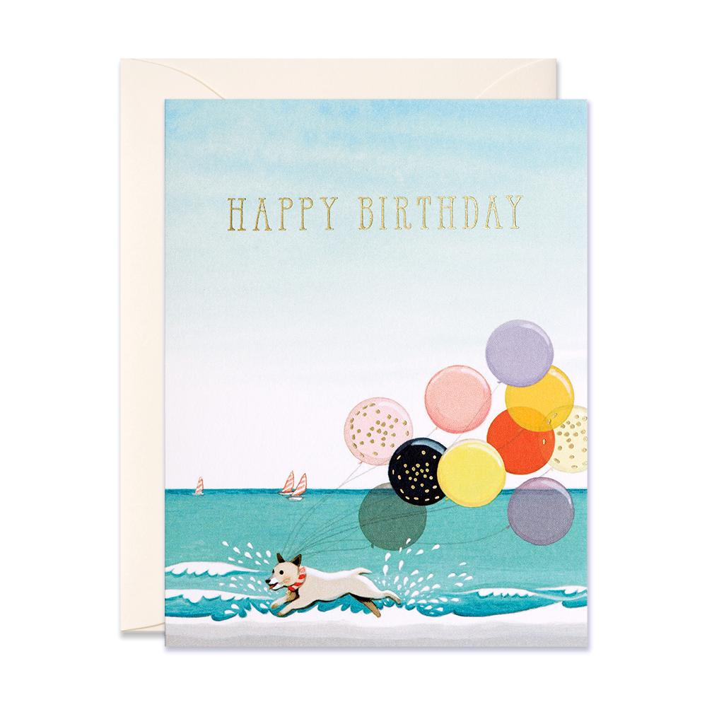 Splashing Dog W/Balloons Birthday Card