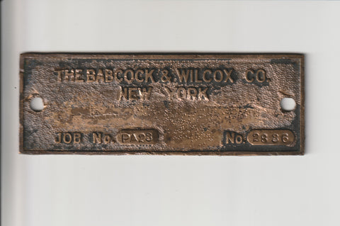 The Babcock & Wilcox Co of New York Job PA #23 Identification Badge Salvaged from a former Philadelphia Factory