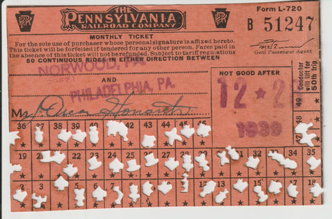Pennsylvania Railroad Monthly Commuting Tickets to Philadelphia 1930's / 1940's PRR Norwood & Philly Pa