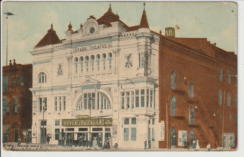 Park Theater Postcard Un-mailed Hand dated 1914 building once located at Broad & Fairmount Adjacent to the Divine Lorraine Hotel CLOSED prior to 1942 when the Salvation Army acquired the lot Address 701 N Broad St Philadelphia PA 19123