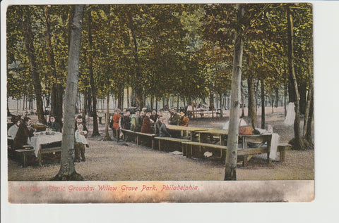 Picnic Grounds Willow Grove Park Philadelphia No 1005 from the Philadelphia Post Card Co Willow Grove Abington Township Montgomery County Pennsylvania