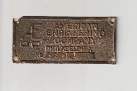 American Engineering Company of Philadelphia AECO Taylor Stoker Machine Identification Badge Salvaged from a former Philly Factory