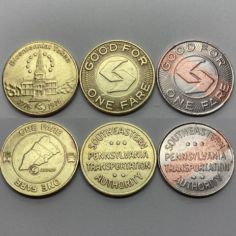 SEPTA Token SET of Qty 3 tokens the 1976 BiCentennial, 1977-1990 Brass, and 1990-2018 BiMetallic in unpunched condition these are a great token coin trio Good For 1 Fare bus trolley Pennsylvania commuter rail transit for display
