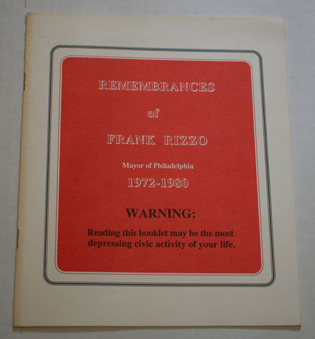"""Remembrances of Frank Rizzo"" Booklet"