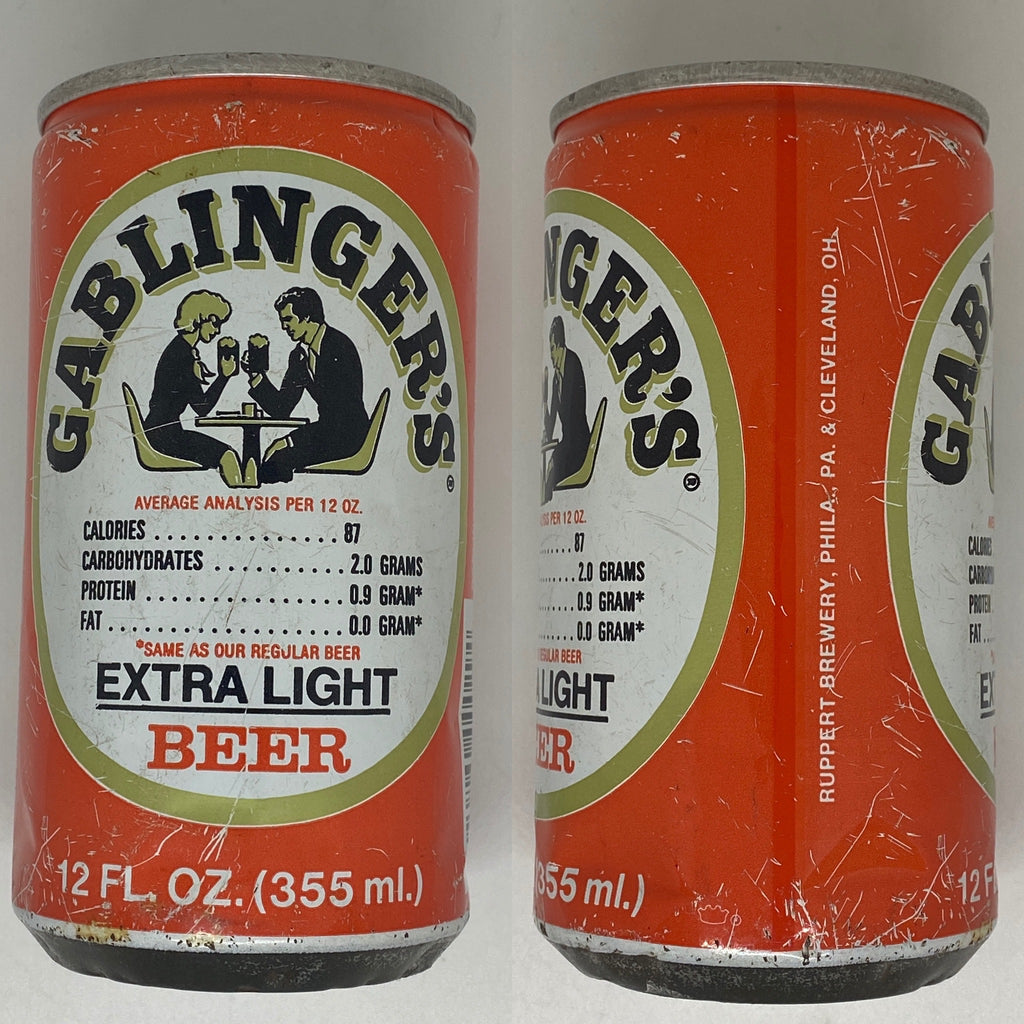 Gablingers Extra Light Beer Can 1970's era manufactured by Ruppert Brewery in Philadelphia and Cleveland