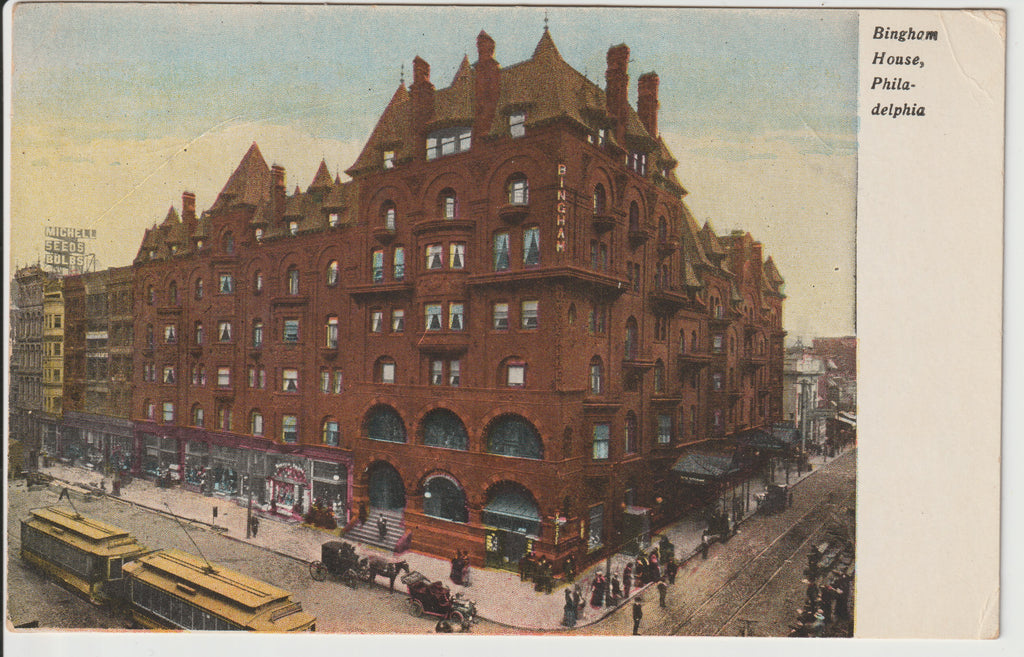 1906 Bingham House Hotel of Philadelphia Undivided Back Un-Posted Postcard