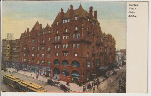Bingham House Hotel of Philadelphia circa 1906 Postcards multiple available famously renovated in 1889 by architect Willis G Hale sadly the hotel closed its doors in June of 1920 former address Address 1046 Market Street Philadelphia PA 19107