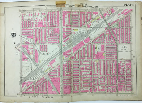 1925 Bromley Atlas - Plate 1 - Fairhill: Broad Street, North Philadelphia between Allegheny Ave and Lehigh Ave, and 9th and 17th Streets contains sections of North Central and Fairhill Burial Ground