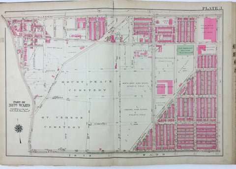 1925 Bromley Atlas - Plate 3 - Allegheny: Ridge Ave, Mount Vernon CemeteryNorth Philadelphia between Allegheny Ave and Lehigh Ave, and Ridge Ave and 26th Streets.