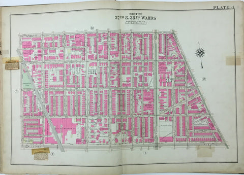 1925 Bromley Atlas - Plate 4 - Tioga: Broad Street, Kenderton School North Philadelphia between Venango Street and Allegheny Ave, and Germantown Ave and 20th St