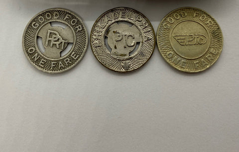 PRT & PTC Philadelphia Rapid Transit & Philadelphia Transportation Corporation SET of 3 tokens in vintage holder token coin trio Good For 1 Fare bus trolley Pennsylvania commuter rail transit for display in holder