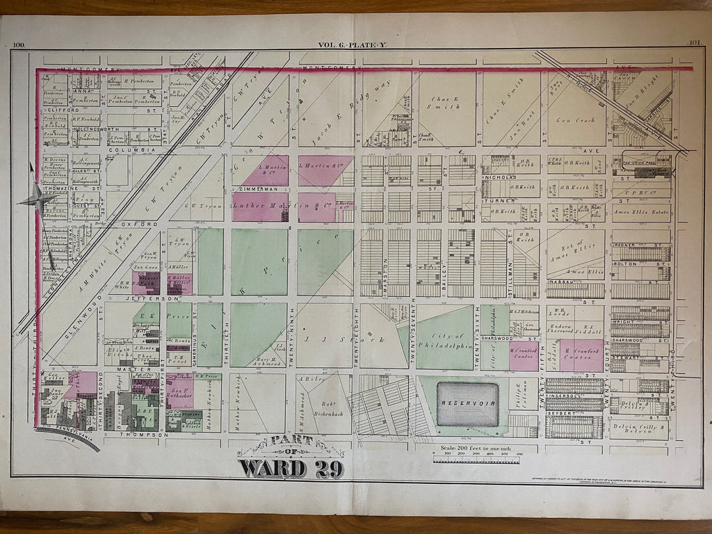 Brewerytown - 1875 Hopkins - Ward 29 featuring Breweries of the period