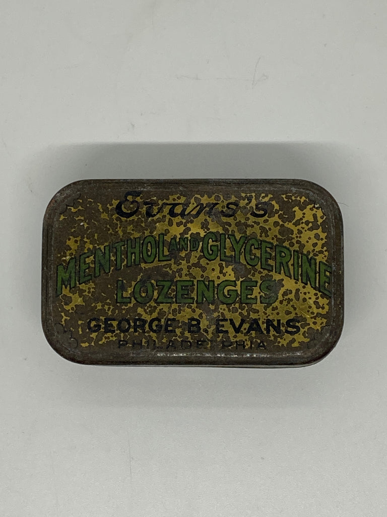 Evans's Menthol & Glycerine Lozenges 1910's era small candy metal tin by The George B Evans Company of Philadelphia Pennsylvania