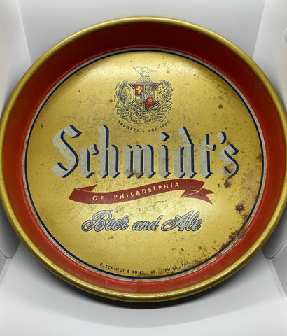 Schmidt's of Philadelphia Beer and Ale Metal Serving Tray 13 inch round