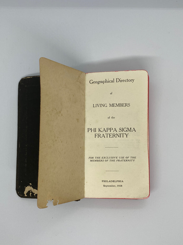 Phi Kappa Sigma (ΦΚΣ) 1928 Living Members Directory Book University of Pennsylvania