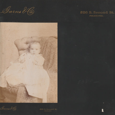 1880s Baby by Garns photography of 526 South 2nd Street Philadelphia a great 19th Century Cabinet Card