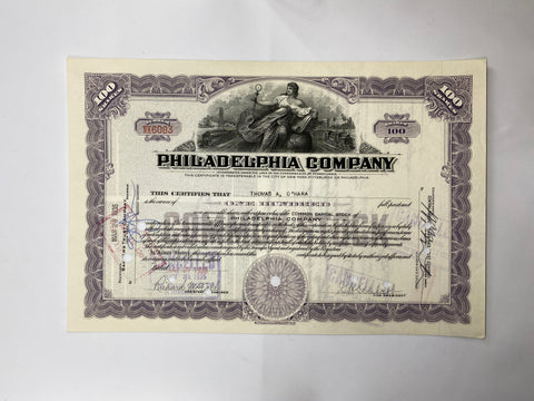 Philadelphia Company Stock Cancelled 1935 Stock Certificate