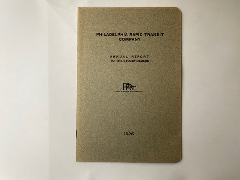 Philadelphia Rapid Transit Company PRT 1925 Annual Report 16 pages