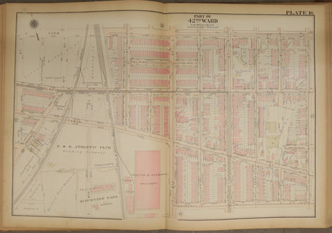 1923 Bromley Atlas - Plate 16 - Olney: Tabor Street, 42nd Ward between Chew Street and Somerville Avenue Philadelphia & Reading Athletic Club, Schuetzen Park, and Proctor & Schwartz Machinery + now demolished Tabor Station