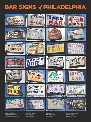 Philly Bar Signs 18x24 poster