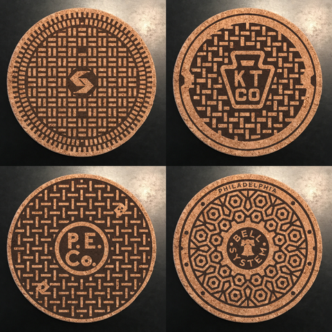 Philly Manhole Cover Coasters--Set of 4