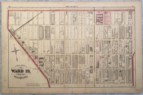1875 Hopkins - Ward 19 Vol 6 Plate S - Kensington showing Lehigh Ave, Front St, Susquehanna St, and Germantown Ave + Fairhill Square Park & American St.