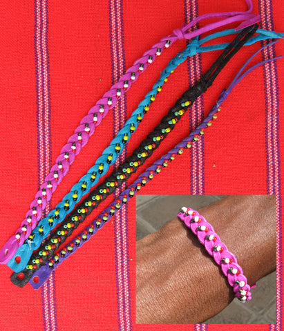 Braided Leather Bracelet with Beads