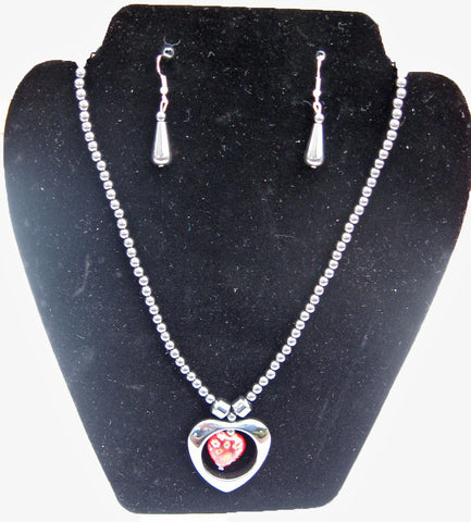 Hematite Heart Necklace and Earrings