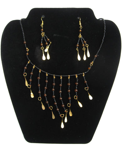 Necklace and Earrings with Glass Beads