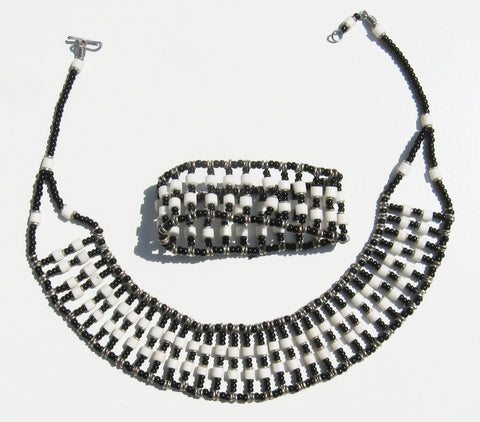 Beaded Collar Necklace and Bracelet