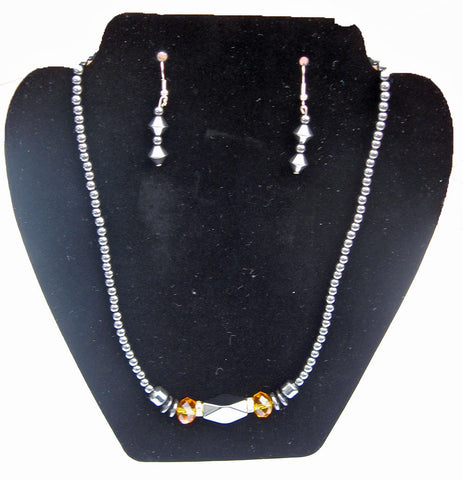 Hematite Crystal Necklace and Earrings