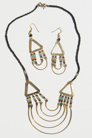 Metal Necklace and Earring Set