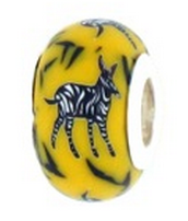 Zebra Starter Bead with Sterling Silver Liner