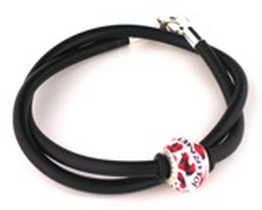 "16"" Starter Rubber Bracelet or Choker with Journey Bead and Rubber Lock Beads"