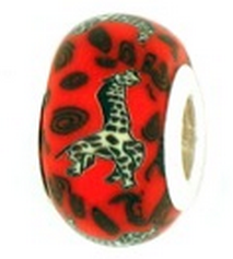 Giraffe Starter Bead with Sterling Silver Liner