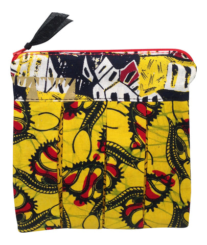 Abstract African Fabrics of Gold, Yellow and Red Pleated Bottom Pouch
