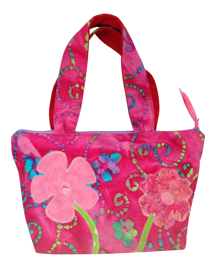 Pink and Fuchsia Appliquéd Flower 100% Cotton Purse