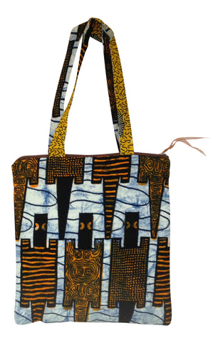 Cotton African Abstract Crocodile Print Purse