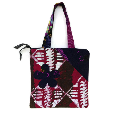 Cotton African Mix Match Print Purse with Fabric Handles