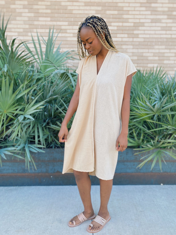 Everyday Dress, Silk Noil in Pecan FINAL SALE