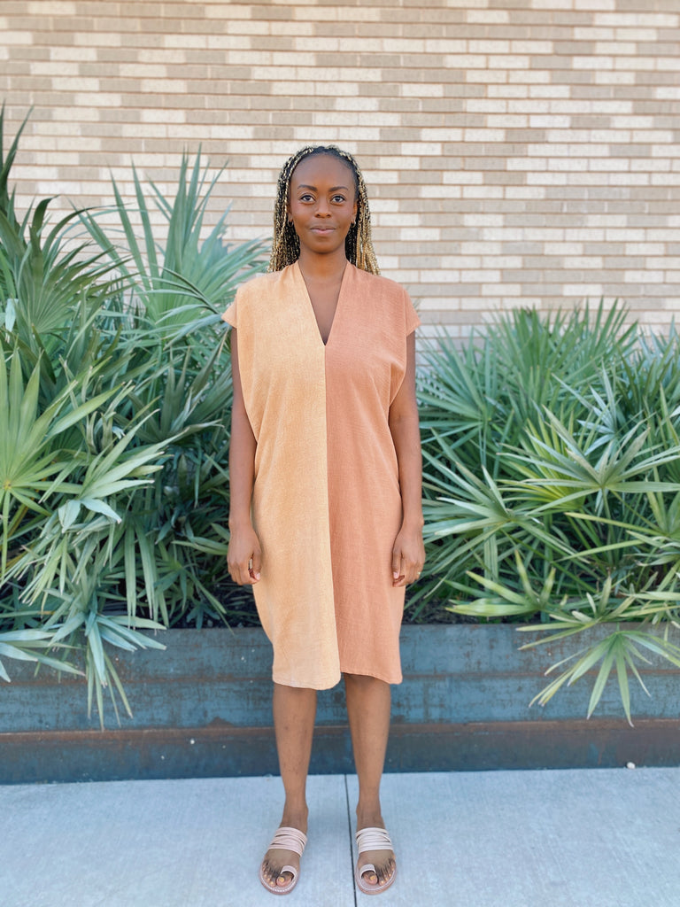 Everyday Dress, Textured Cotton in Acacia and Madder