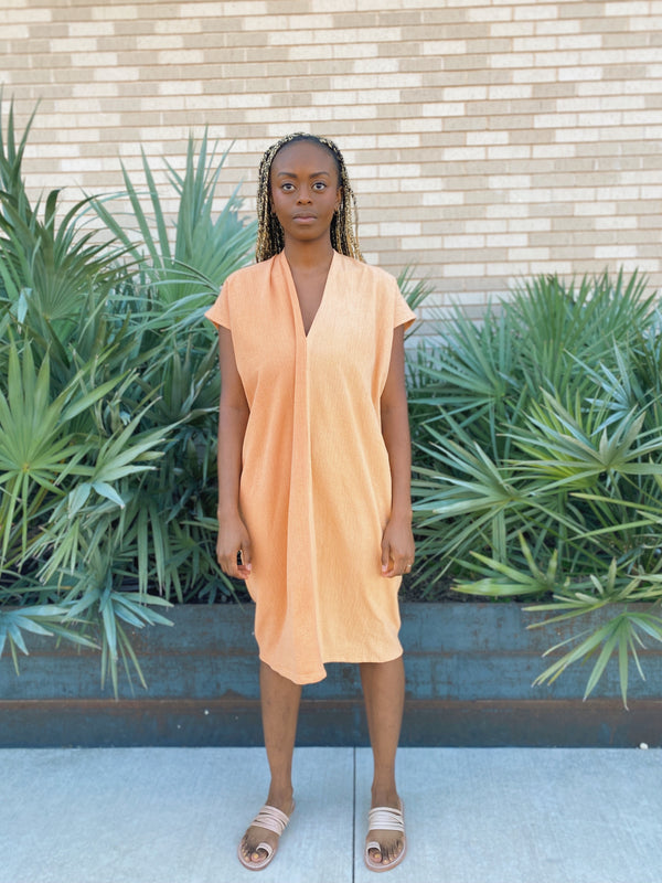 Everyday Dress, Textured Cotton in Osage and Madder