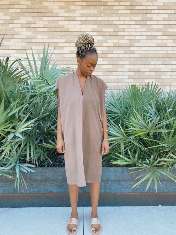 Everyday Dress, Textured Cotton in Acacia Iron FINAL SALE