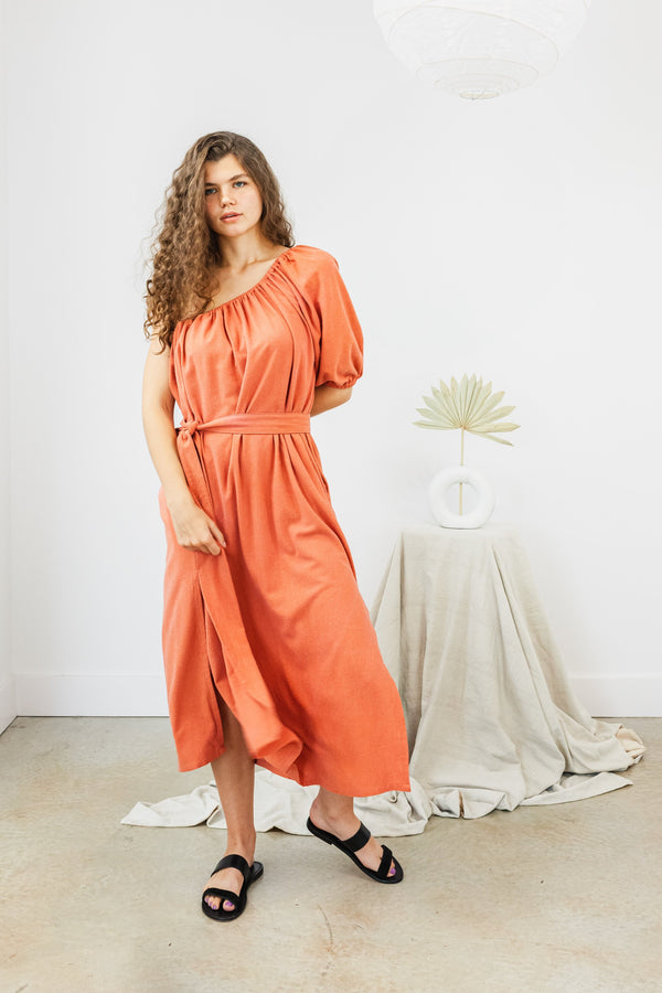 Artemis Dress Silk Noil in Yucatan