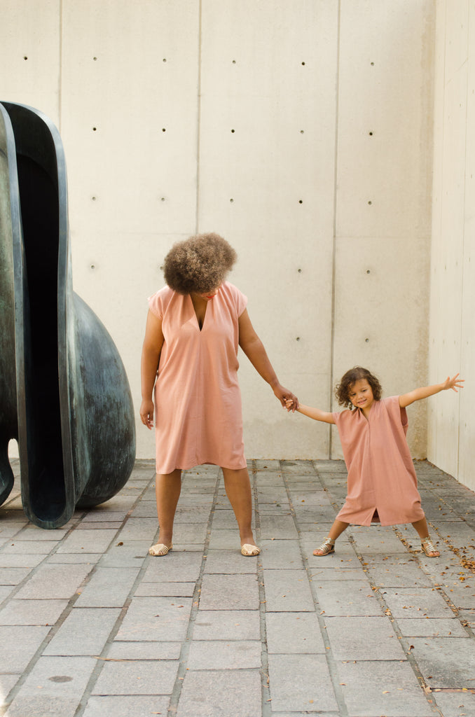 Zero Waste Kid's Everyday Dress, Silk Noil in Nico