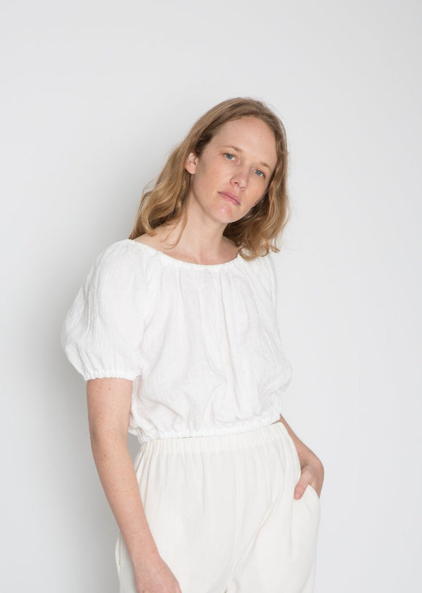 Carlisle Top, Organic Cotton Bubble Gauze in White